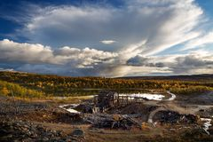 Reminings of old mine Christianus Sextus, Norway royalty free stock image