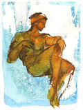 Reminiscence of Italy. Fast sketch of a naked man's figure from Michelangelo's fresco Royalty Free Stock Photography