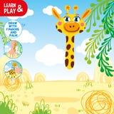 Remis żyrafa używać twój palce i rękę Patrzeje porady w kącie pic i robi to samo Farby żyrafy ciało stosowny ilustracji