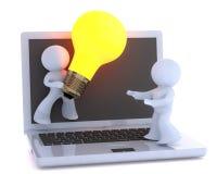 Remise de l'idée lumineuse au-dessus de l'Internet. Image libre de droits