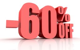 remise de 60 pour cent illustration stock