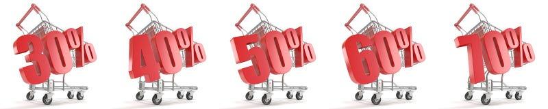 30%, 40%, 50%, 60%, remise de pour cent de 70% devant le caddie Concept de vente - main avec la loupe 3d Images libres de droits