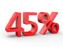remise de 45 pour cent Nombres 3d rouges sur le fond blanc d'isolement illustration de vecteur