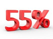 remise de 55 pour cent Nombres 3d rouges sur le fond blanc d'isolement Image stock