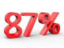 remise de 87 pour cent Nombres 3d rouges sur le fond blanc d'isolement illustration libre de droits