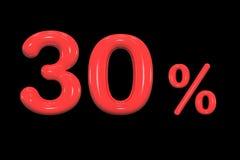 remise de 30%, pour cent de vente de promotion fait en signe rouge brillant réaliste de la peinture 3d d'isolement sur le fond no illustration stock