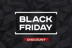 Remise noire de vendredi Forme géométrique de volume, cristaux du noir 3d Bas fond d'obscurité de polygones Accent rouge Polygona illustration stock