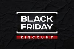 Remise noire de vendredi L'obscurité a ridé la texture de papier, fond noir de résumé Accent rouge Forme de conception de vecteur illustration stock