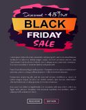 Remise -45 outre d'affiche de promo de vente de Black Friday Image libre de droits