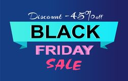 Remise -45 outre de label de promo de vente de Black Friday Photo libre de droits
