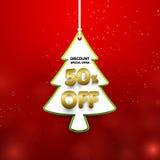 Remise 50 pour cent  Forme d'arbre de Noël dans la bannière de prix à payer Images libres de droits