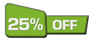 Remise 25 pour cent outre de la triangle verte horizontale Image stock