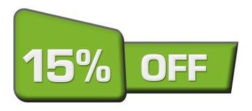 Remise 15 pour cent outre de la triangle verte horizontale illustration stock