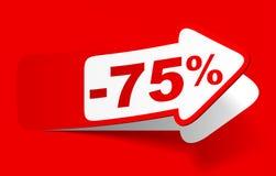 Remise 75 pour cent - vecteur courant Photos stock