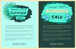 Remise promotion des ventes d'été de 25 et 45 pour cent illustration stock
