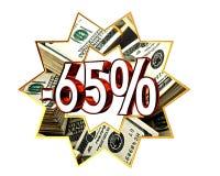 Remise signe de 65 pour cent Photographie stock