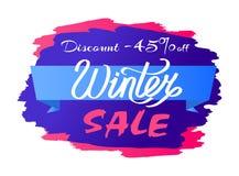 Remise - texte de conception de label de promo de vente de 45 hivers Photographie stock libre de droits