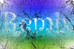 Remix begreppet med remix ordet som är skriftligt bak det brutna exponeringsglaset med färgrik bakgrund arkivbild