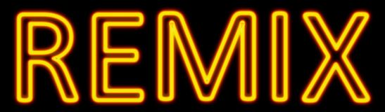 Remix neon sign. Abstract 3d rendered words remix yellow neon sign on black background Royalty Free Stock Images