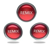 Remix glass button. Remix round shiny red 3 angle web icons with metal frame,3d rendered isolated on white background Royalty Free Stock Photo