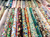 Remnant. Colored and diversified remnant in a store in the Saint-Pierre Cloth market in Paris in France Royalty Free Stock Image