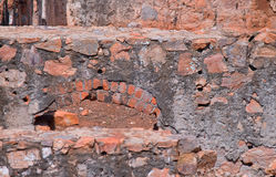 REMNANT OF WALL IN OLD FORT. Stone walls and structures of old fort Stock Photos