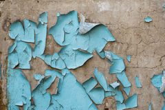 Remnants of blue paint on concrete wall. Remnants of old blue paint on concrete wall royalty free stock photography