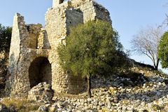 Remnants of Crusader castle in Israel Royalty Free Stock Images