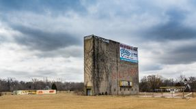 Remnants of the Hilltop drive-in theatre. On Route 6 in Joliet, Illinois.  A thing of the past Royalty Free Stock Photos