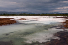 Remnants of ice in the river valley. Royalty Free Stock Photos