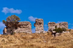 Remnants of the old fortress. Ruins of the ancient city of Ashkelon, which is one of the oldest cities on the planet and has an age of about 5 thousand years royalty free stock image
