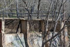 Remnants of an old hydroelectric plant in Richmond, Virginia stock images