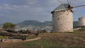 Remnants of old wind mills. 4k. stock video