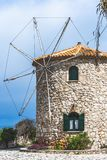 View of the old windmill in Skinari Cape royalty free stock photography