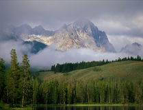 Remnants of an overnight storm at Redfish Lake, Sawtooth National Recreation Area, Idaho stock photos