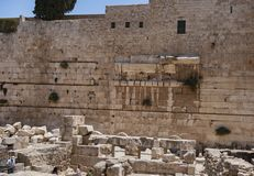 Robinson`s Arch of the Western Wall in Israel. Remnants of robinson`s arch on the western wall above the herodian street below the temple mount in Jerusalem with stock images