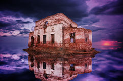 Remnants of the ruins on the island in the sea. The ruins of ancient buildings on the island of the sea Stock Photo