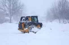 Remoção de neve do blizzard 2016 imagem de stock royalty free