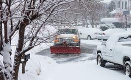 Remoção de neve do caminhão Imagens de Stock