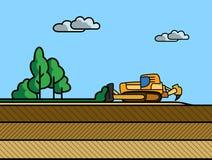 Remoção do solo superficial da escavadora ilustração stock