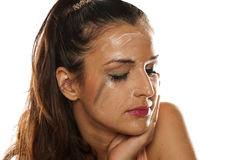 Remoção Make up Fotografia de Stock