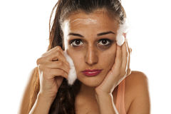 Remoção Make up Fotografia de Stock Royalty Free