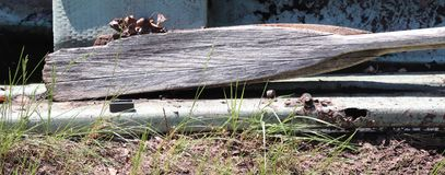 Remo della barca, decomposto, foglie, fuori fotografia stock
