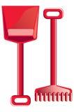 Remo y rastrillo rojos Foto de archivo