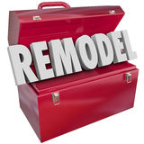 Remodel Red Metal Toolbox Building Construction Improvement Proj. Remodel 3d word in a red metal toolbox to illustrate an improvement, construction, building or Stock Images