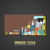 Remodel tools backdrops banner templates. Vector colourful flat design various house remodel construction tools  brown background banner templates Royalty Free Stock Image