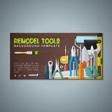 Remodel tools backdrops banner templates. Vector colourful flat design various house remodel construction tools  wood textured background banner templates Stock Images