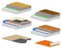 Remodelado de la casa Construcciones de la perorata y instalación del suelo Ilustración del Vector