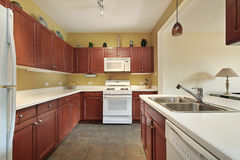 Remodeled wood kitchen Royalty Free Stock Photo