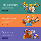 Remodeling construction service flat banners set. Best quality and time professional remolding service team offer isometric horizontal banners set abstract Stock Image
